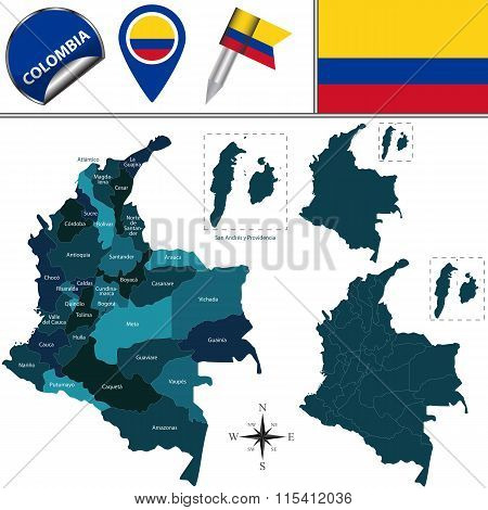 Vector map of Colombia with named departments and travel icons poster