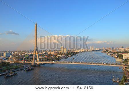Rama 8 Bridge Crossing Chaopraya River In Heart Of Bangkok Thailand Capital Important Traveling Dest