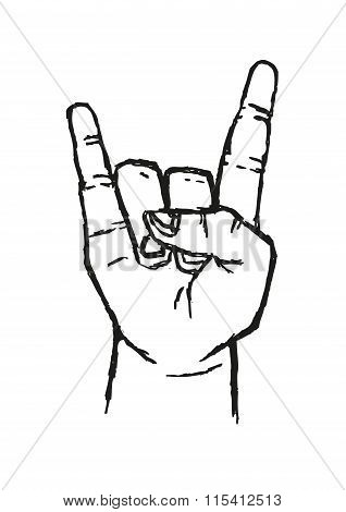 Sign of the Horns Hand Salute  or Sign Language Used in many alternative communications. Stylized Ou