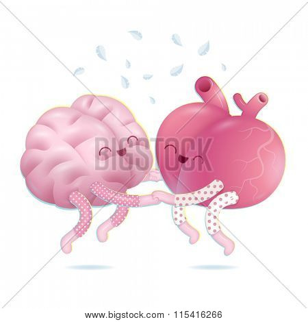 Pajama party - the vector illustration of a brain and a heart wearing pajamas jumping together holding their hands. A part of Brain collection.