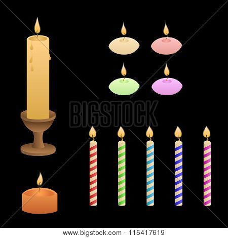Candles flame red green pink yellow blue violet isolated set illustration vector
