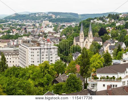 Aerial view of Siegen city in Germany