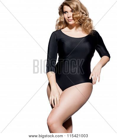 Blond plus-size model with beautiful hair and makeup poster