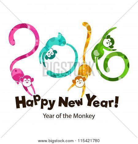 Year Of The Monkey, Multicolored Pattern