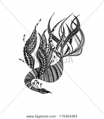 stylized vector  phoenix, firebird, bird, fairytales bird poster