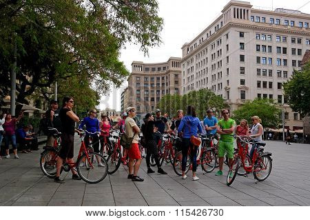 Barcelona, Spain - May 17, 2014: Tour On Bicycles In The Gothic Quarter