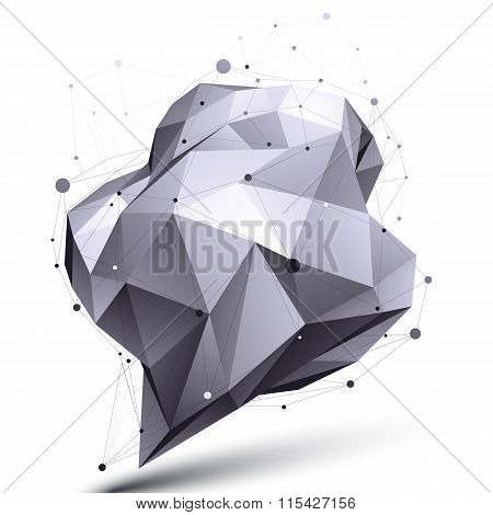 Modern Digital Technology Style, Abstract Unusual Asymmetric Figure Isolated On White Background, Ve