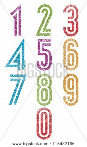Retro Style Double Line Geometric Numbers Set With Hand Drawn Lines Texture.