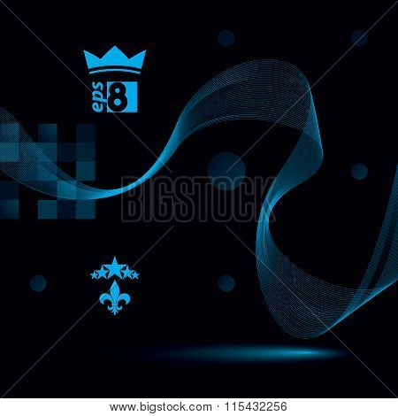 Decorative Wavy Template, Vector Background With Silky Textile Curves, 3D Abstract Backdrop