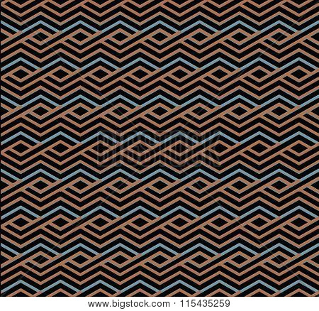 Bright Abstract Seamless Pattern With Interweave Lines. Vector Psychedelic pattern With Stripes.