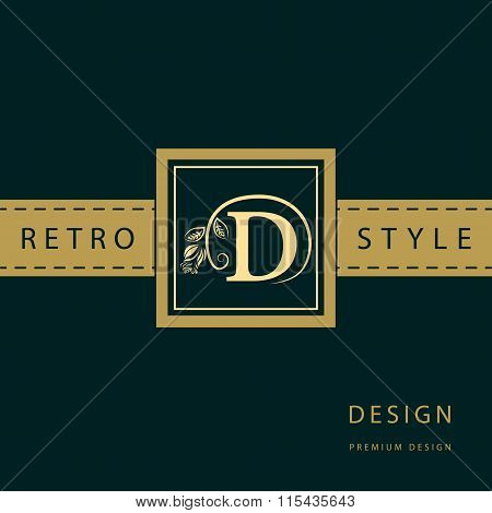 Vector illustration of Monogram design elements graceful template. Calligraphic elegant line art logo design. Letter emblem sign D for Royalty business card Boutique Hotel Restaurant Cafe Jewelry poster
