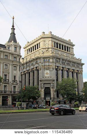 Madrid, Spain - August 25, 2012: Edificio De Las Cariatides (caryatid Building) That Houses The Head