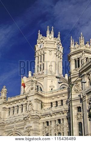 Madrid, Spain - August 25, 2012: Details Of The Telecomunications Palace - Madrid City Hall On Cibel