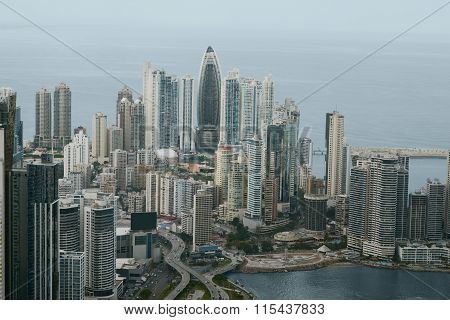 Aerial view of Panama City, Central America poster