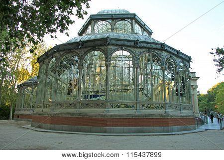 Madrid, Spain - August 25, 2012: The Palacio De Cristal (crystal Palace) In Buen Retiro Park (el Ret