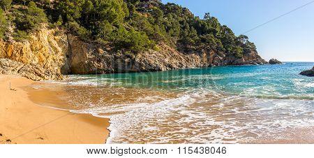 Cala Pola Cove In Costa Brava Near Tossa De Mar, Catalonia