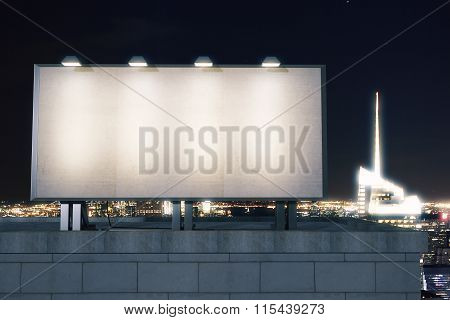 Big Empty Billboard On The Background Of The City At Night, Mock Up