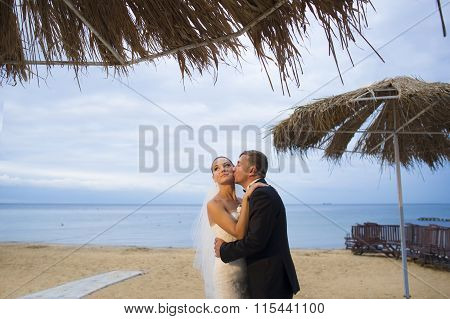 The newlyweds are standing on the beach.