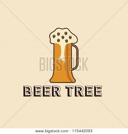 Beer Tree Concept Vector Design Template