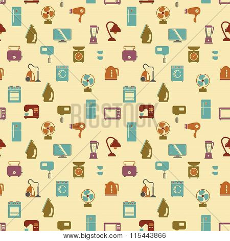 Seamless Pattern Of Household Appliances. Washing Machine, Stove, Fridge, Lamp, Kettle, Hairdryer, M
