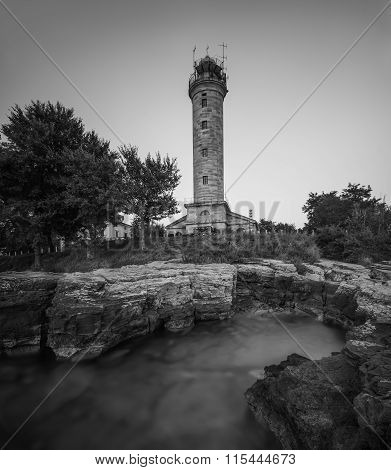 Lighthouse In Savudrija, Istria, Croatia, Black And White