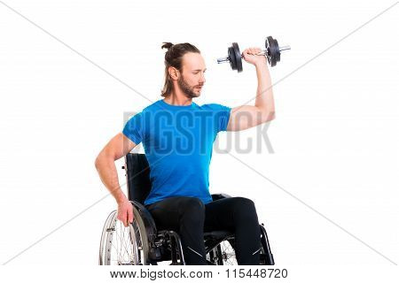 Disabled Man In Wheelchair Train With Bar-bell