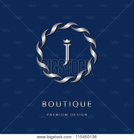 Monogram Design Elements, Graceful Template. Elegant Line Art Logo Design. Letter Emblem J. Retro Vi