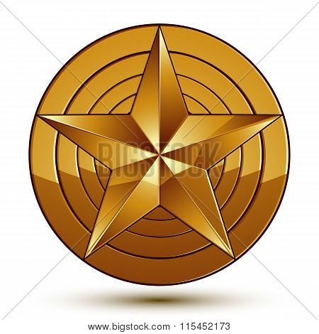 Royal Golden Geometric Symbol, Stylized Golden Star, Best For Use In Web And Graphic Design, Corpora