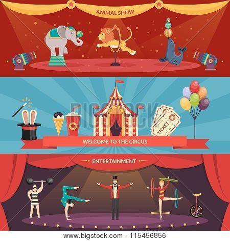 Circus Performance Horizontal Banners