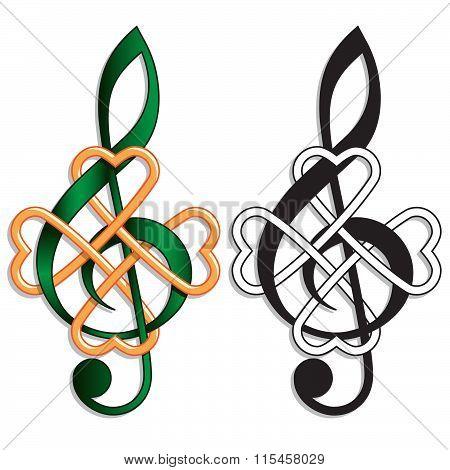 Treble Clef Celtic Knot Irish Music
