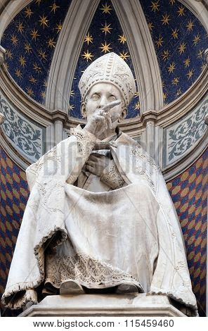 FLORENCE, ITALY - JUNE 05: St. Antoninus (Antonio Pierozzi, the Archbishop of Florence), Portal of Cattedrale di Santa Maria del Fiore (Cathedral of Saint Mary of the Flower), on June 05, 2015