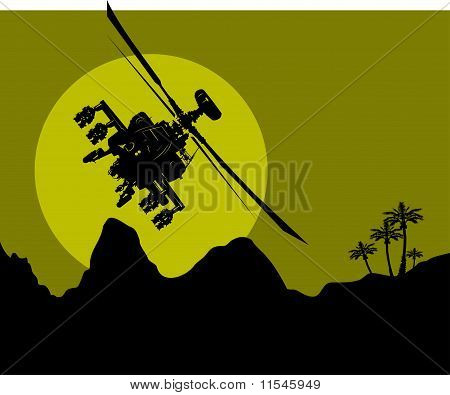 silhouette of a military helicopter in the night sky over the desert; poster