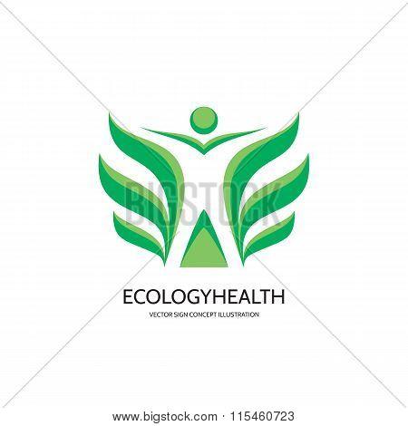 Ecology vector logo concept illustration. Health logo. Healthcare logo. Wellness logo sign.