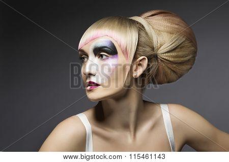 Fashion Woman Make Up, Artistic Model Girl Makeup Face