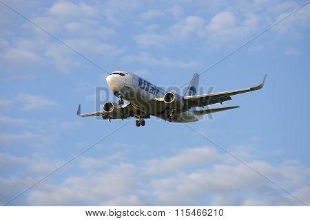 Flying in a cloudy sky Boeing 737-524 (VQ-BPO) airline UTair