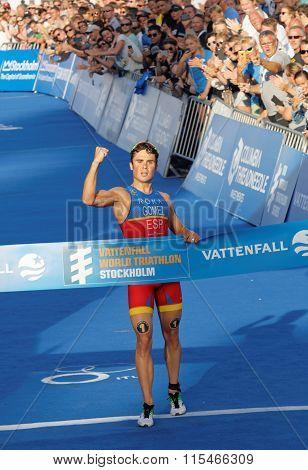Triathlete Javier Gomez Clench A Fist When Winning The Triathlon Competition