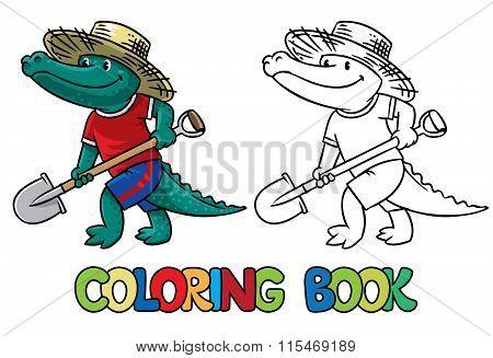 Crocodile-farmer. Coloring book
