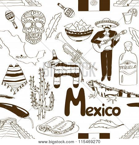 Sketch Mexico Seamless Pattern.