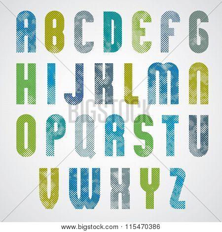 Halftone Print Dots Textured Bold Font.