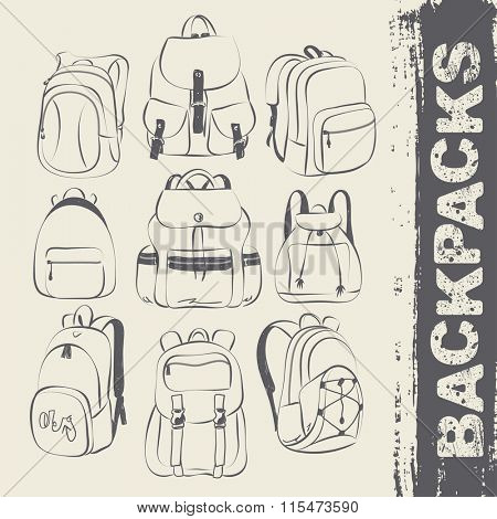 A set of different types of backpacks, vector illustration
