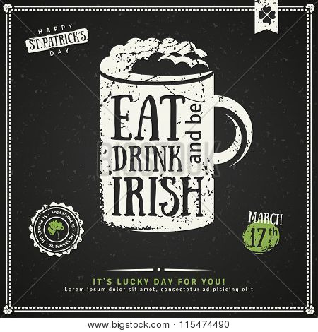 Party Invitation, Chalkboard Irish Beer Emblem
