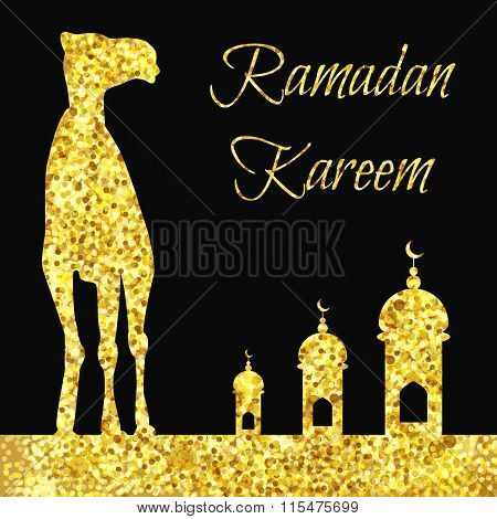 Ramadan Gold Greeting With Camel