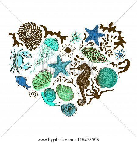 Heart Of Sea Animals And Shells.