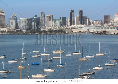 view of san diego coastline and harbor from coronado island. poster