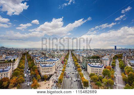Paris and Champs Elysees form Arc de Triumph