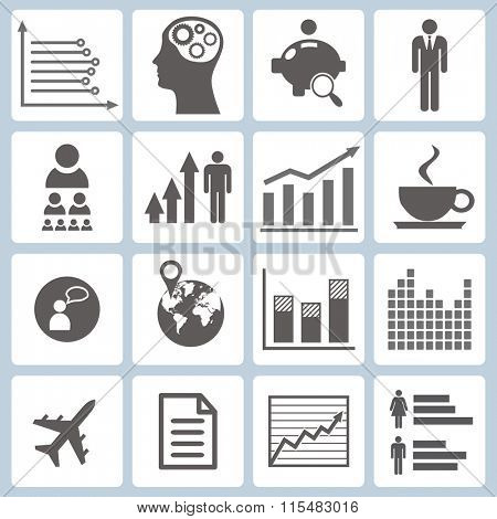Set of graphs and icons