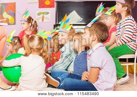 Many kids sit in developmental kindergarten class