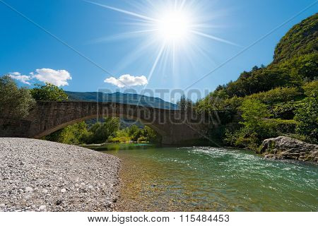 Roman Bridge And Sarca River - Italy
