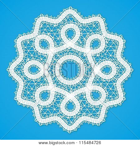 Vector white lacy round napkin in Russian Vologda lace style poster