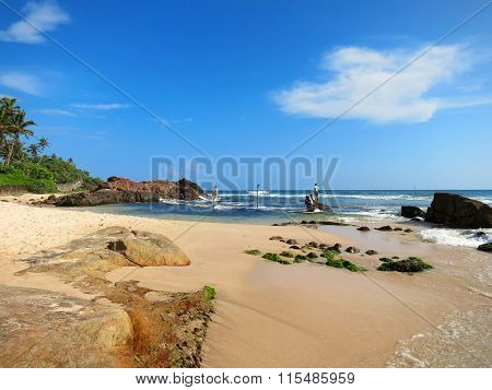 Beach with fishermen at sticks in Weligama bay, Sri Lanka
